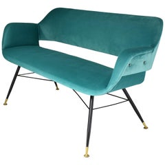 20th Century Italian Midcentury Velvet Steel Sofa, 1950s