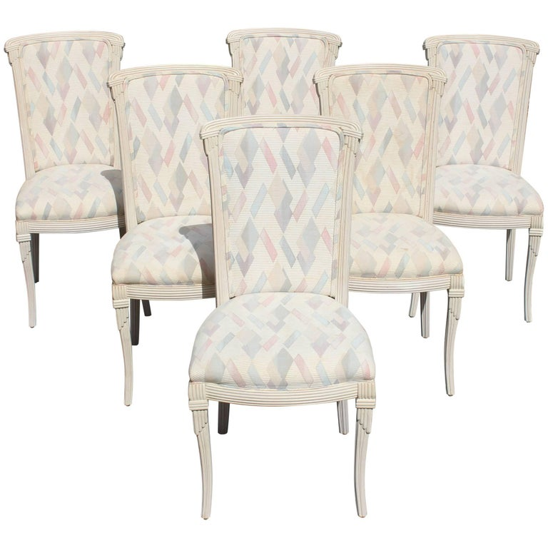 Set of Six French Art Deco Solid Mahogany Ivory Finish Dining Chairs circa 1940s
