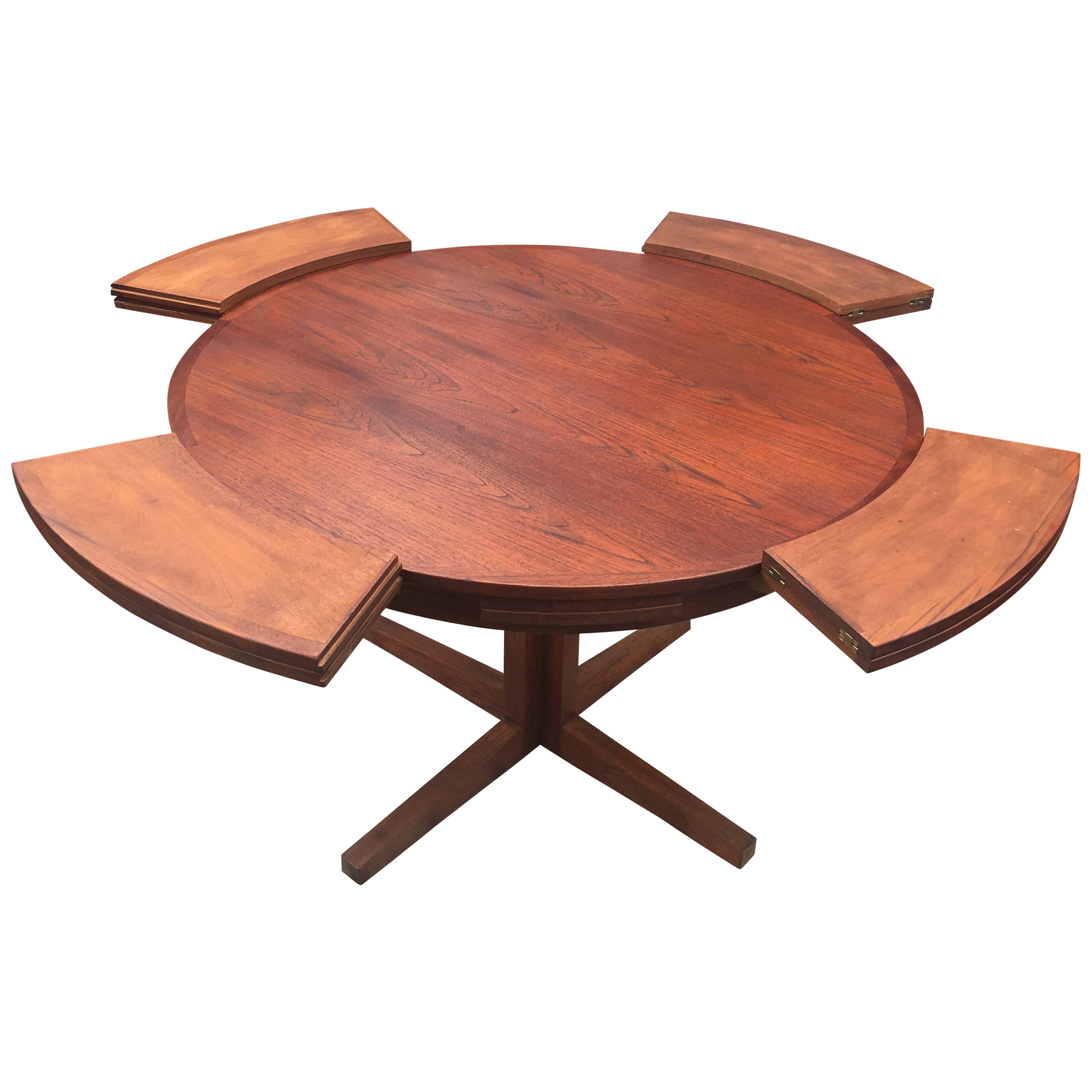 Lotus Or Flip Flap Extending Circular Dining Table By Dyrlund In Teak At 1stdibs