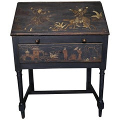 Early 20th Century Chinoiserie Decorated Bureau in Black Wood