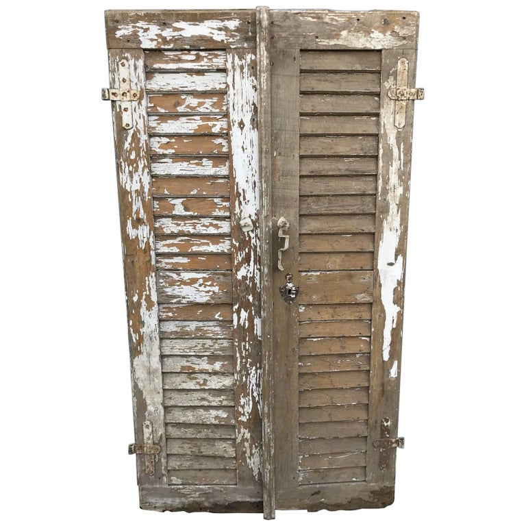 Pair of French Shutter Doors, Antique, Vintage, Country For Sale - Pair Of French Shutter Doors, Antique, Vintage, Country For Sale At