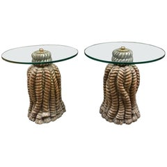 Pair of Italian Golden Carved Wood Tables Round Crystal Top, 1950s