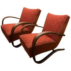 Pair of H-269 Armchairs Designed by Jindrich Halabala for UP Závody Brno, 1930s