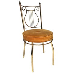 Vintage Brass Lyre Back Vanity Chair