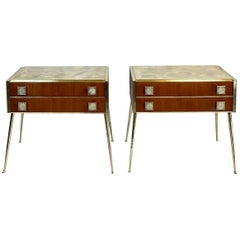 Mid-Century Modern Pair of Wood & Brass with Green Marbled Glass Top Side Tables