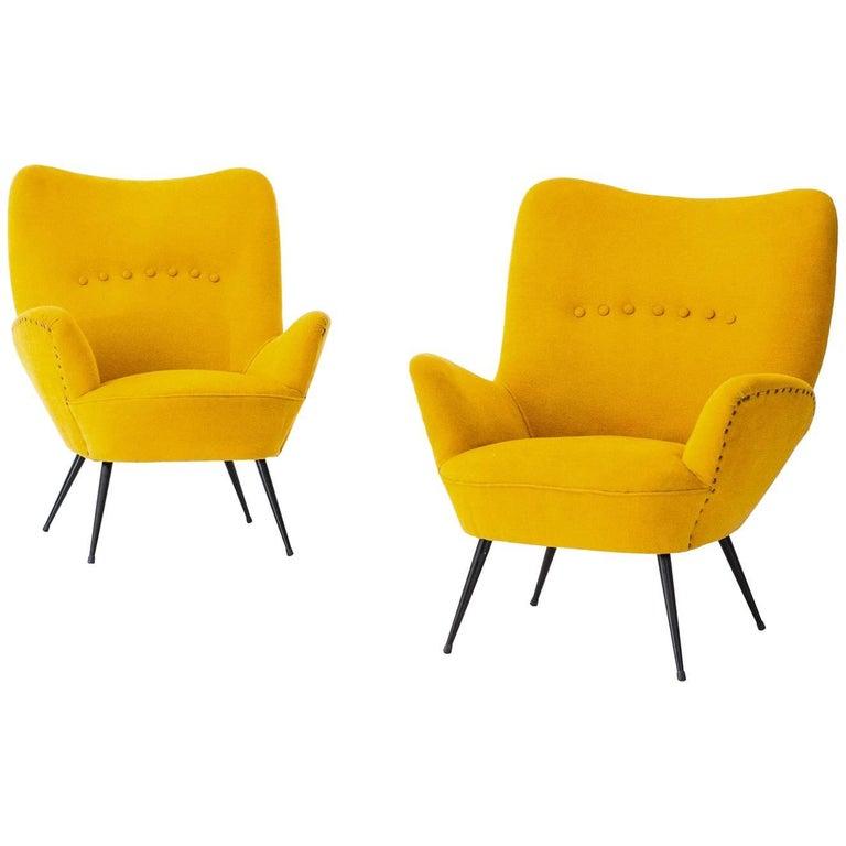 Pair of Italian Senape Yellow Armchairs, 1950s