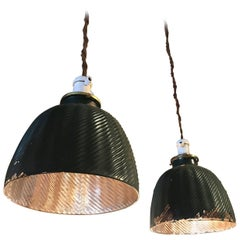 Pair of Green X-Ray Mercury Glass Dome Pendant Lights