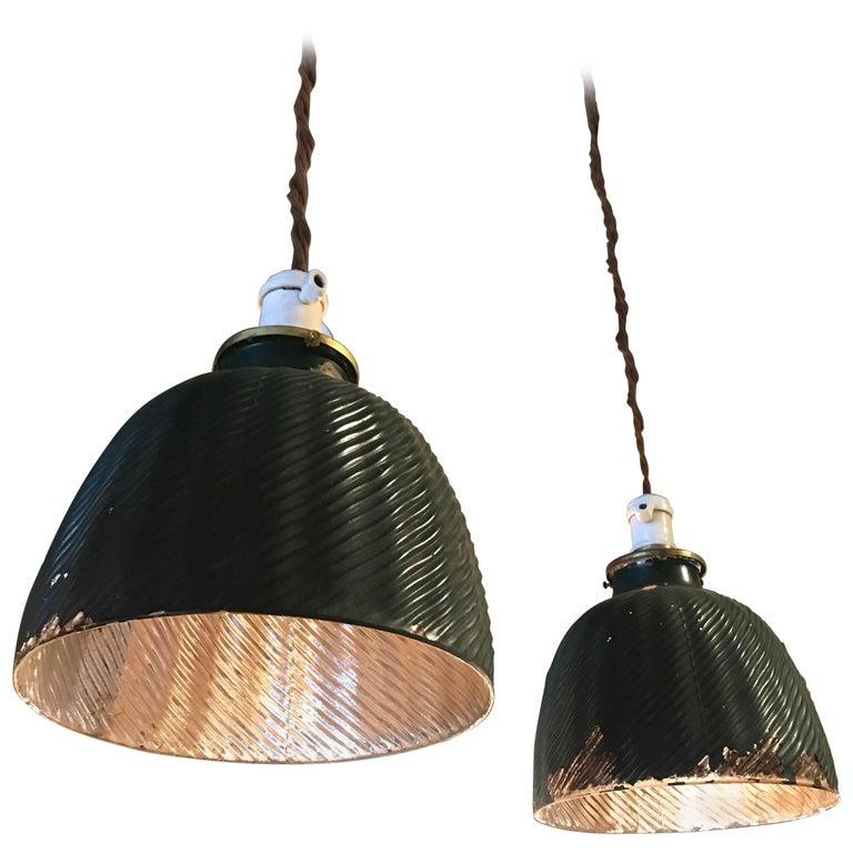 Pair of Green X-Ray Mercury Glass Dome Pendant Lights