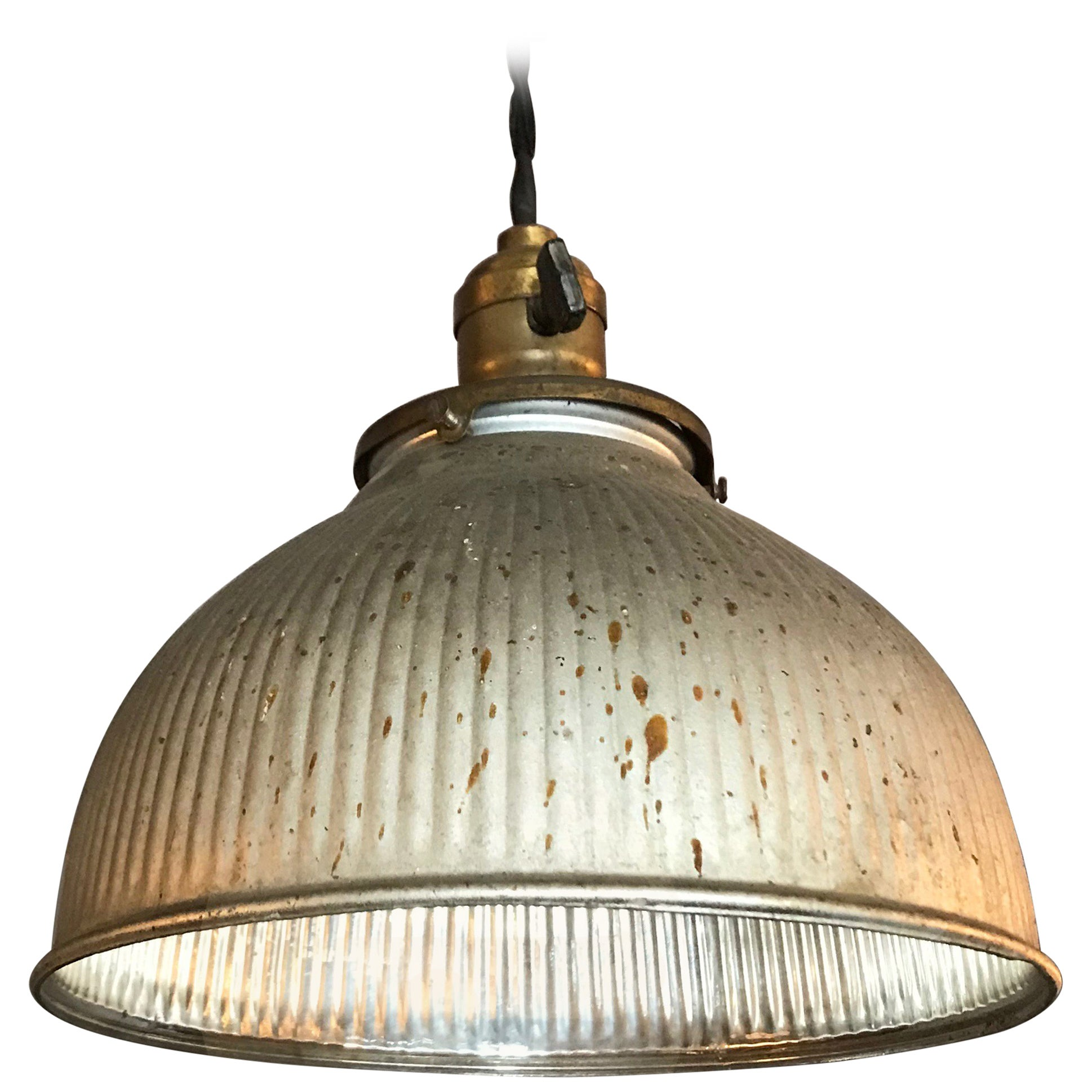 Industrial Silver X-Ray Mercury Glass Dome Pendant Light