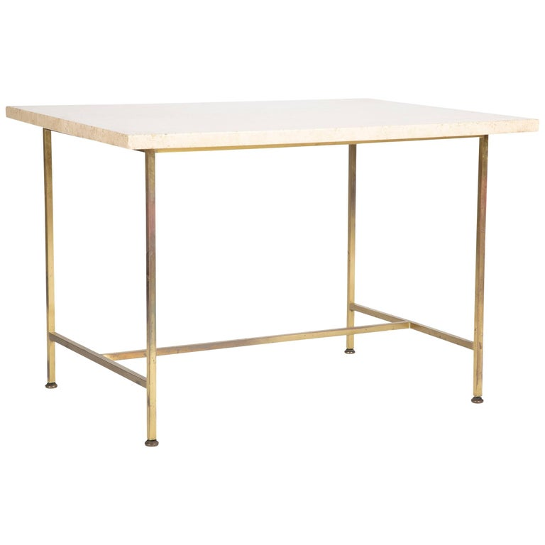 Travertine Top Brass Side Table Designed by Paul McCobb