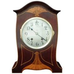 German Art Nouveau Mahogany Inlaid Mantel Clock by Lenzkirch