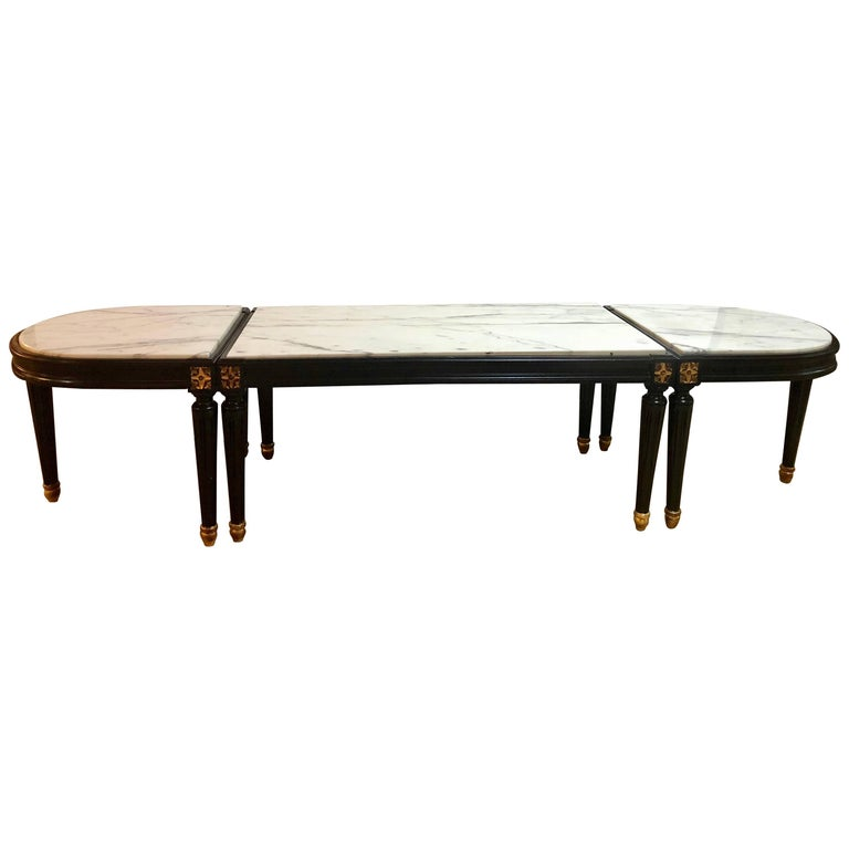 Louis XVI Style Inset Marble-Top Three-Piece Coffee Table, Maison Jansen Manner