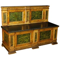 Italian Chest In lacquered Faux Marble Wood From 20th Century