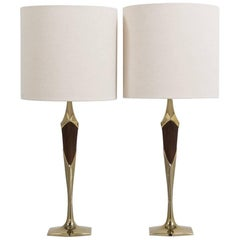 Pair of Stiffel Designed Teak and Brass Table Lamps, Late 1950s