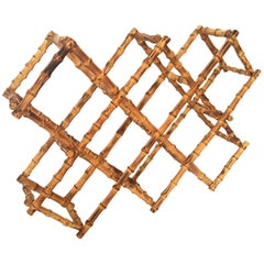 Vintage Burnt Bamboo Wine Rack