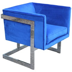 Modern Milo Baughman for Thayer Coggin Blue Velvet and Chrome Cube Lounge Chair
