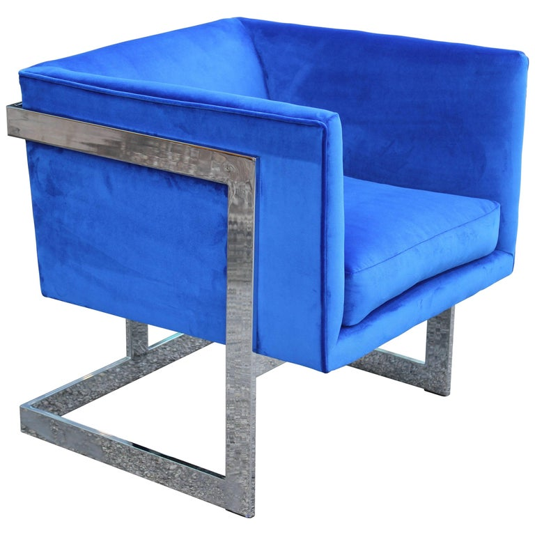 Modern Milo Baughman for Thayer Coggin Blue Velvet and Chrome Cube Lounge Chair