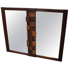 1970s Mid-Century Modern Brutalist Dresser or Wall Mirror by Lane