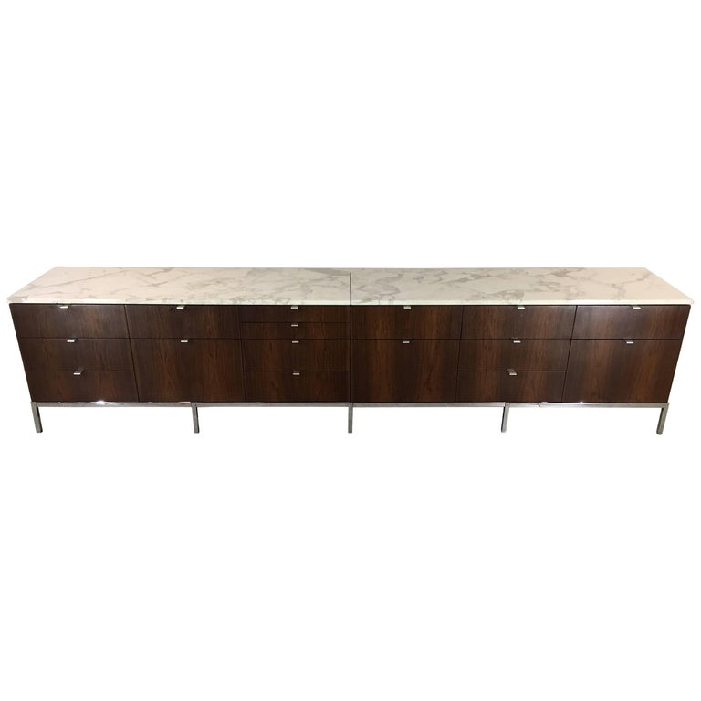 Florence Knoll Custom Long Two-Part Rosewood Credenza with Carrara Marble Tops