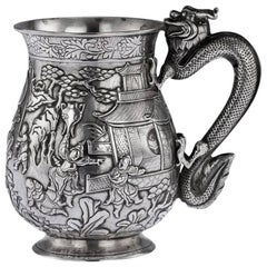 Antique Rare Chinese Export Solid Silver Battle Scene Mug, circa 1870