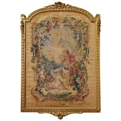 19th Century Aubusson Tapestry Panel in Original Giltwood Frame