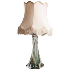 1960s Val St Lambert Green Crystal Lamp Base
