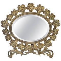 Vintage Brass Flower Frame Vanity Mirror