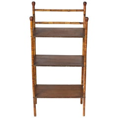 Antique Bamboo Frame Standing Shelf