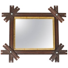 Antique Small Wood Mirror