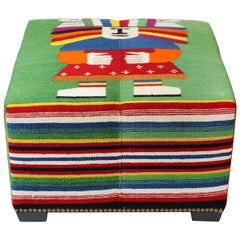 Vintage Wool Mexican Blanket Custom Ottoman