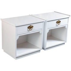 Mid-Century Freshly Lacquered White and Polished Brass Nightstands by American