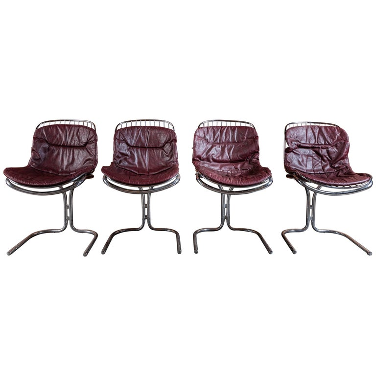 Set of Four 1970s Chrome Cantilevered Dining Chairs by Gastone Rinaldi