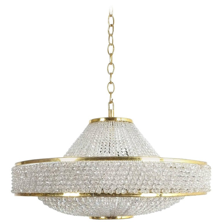 Bakalowits Pearl Crystal Ufo Chandelier with Brass Details, Austria, 1960