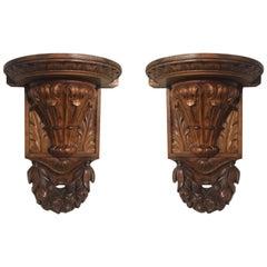 19th Century Italian Hand-Carved Walnut Wall Brackets