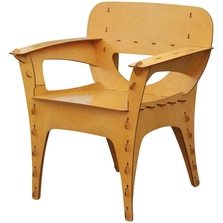 Modern Birch Plywood Design Puzzle Lounge Chair by David Kawecki For Sale