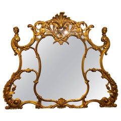 Antique French over the Mantle / Console Ornate Gilt Gold Mirror
