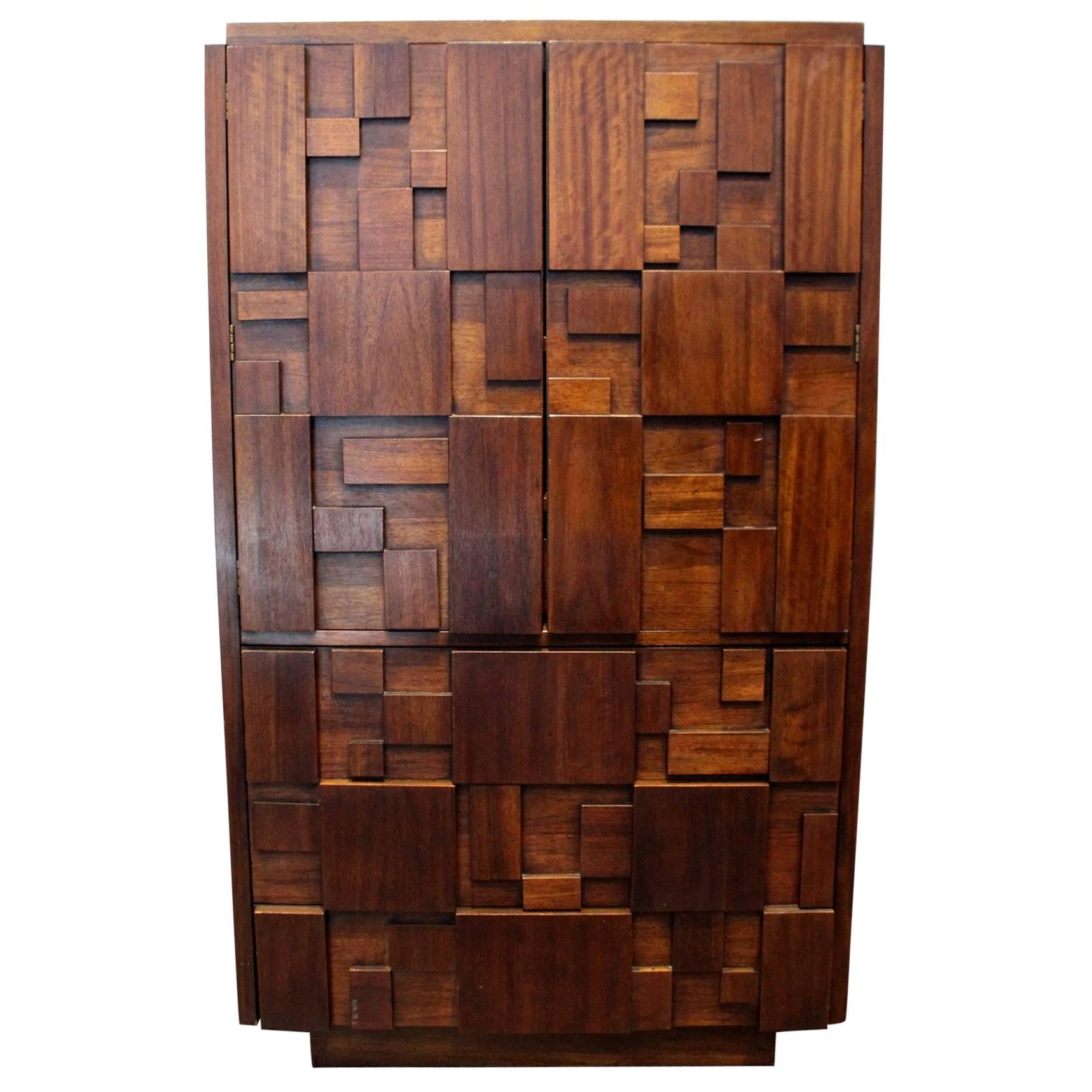 Beau 1970s Mid Century Modern Brutalist Mosaic Patchwork Tall Chest By Lane