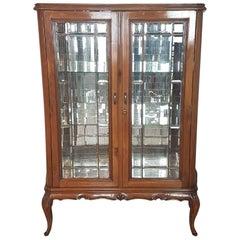 20th Century Italian Louis XV Style Walnut Carved Cabinet or Vitrine