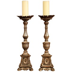 Pair of 19th Century Italian Carved Silverleaf Candlesticks Prickets