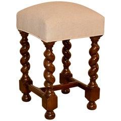 19th Century English Upholstered Stool
