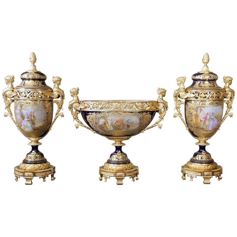 Late 19th Century Gilt Bronze Mounted Sèvres Style Porcelain Garniture