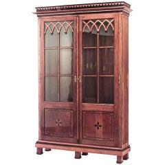 Continental Austrian Neoclassical Style Oak Bookcase Cabinet