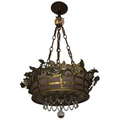 Wonderful French Bronze Frosted Glass Beaded Flower Basket Chandelier Fixture