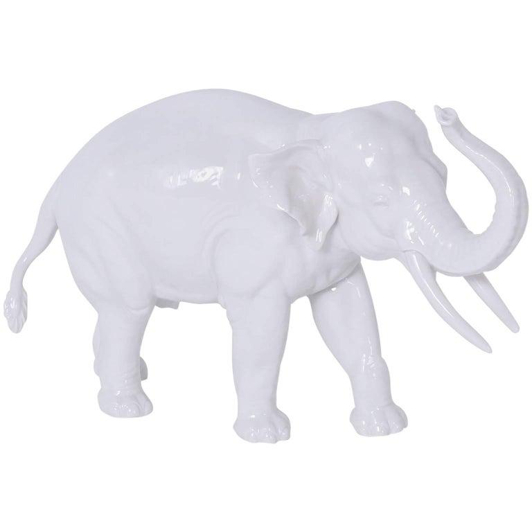 Numphenberg Porcelain Elephant with a White Glaze