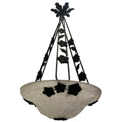 Wonderful French Iron Art Deco Flower Bowl Chandelier Pendent Light Fixture
