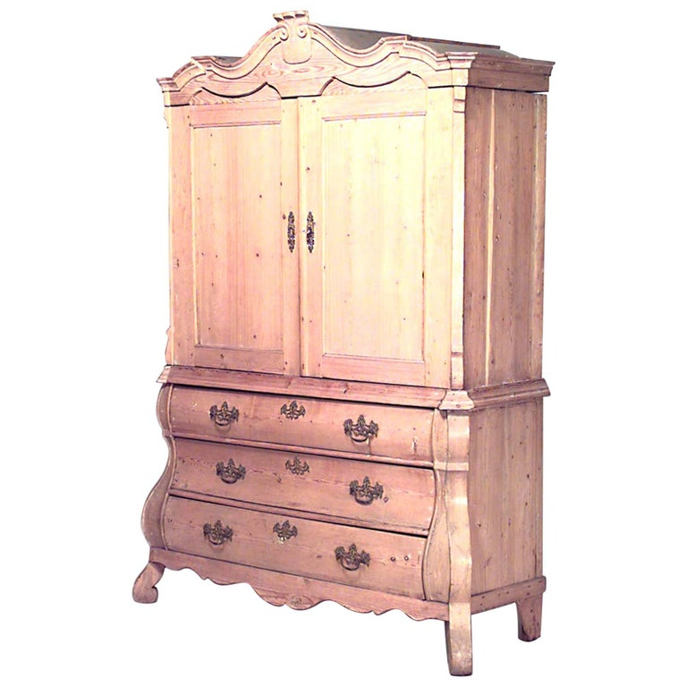 Continental Dutch Provincial Style '19th Century' Stripped Pine Cabinet