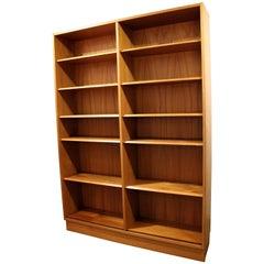 Danish Modern Poul Hundevad Teak Double Bookcase