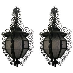 Pair of French Iron Art Nouveau Glass Panel Lantern Pendent Light Fixture