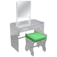 Beautiful Mid-Century Modern Lucite Vanity with the Bench, circa 1970s