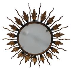 Spanish Gilt Metal Sunburst Flush Mount Ceiling Fixture
